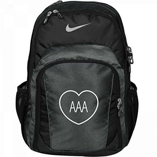 Custom Initials In Heart Monogrammed Backpack For Girls: Nike Performance Backpack by Customized Girl