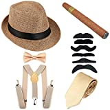 1920s Mens Costume Accessory Set - Manhattan Fedora Hat, Y-Back Suspenders & Pre Tied Bowtie, Gangster Tie,Toy Cigar & Mustache (OneSize, Champagne)