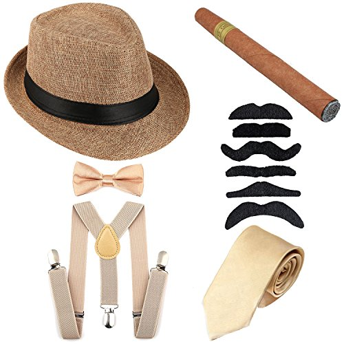 1920s Mens Accessories Hard Felt Panama Hat, Y-Back Suspenders & Pre Tied Bow Tie, Tie,Toy Cigar & Fake Mustache (OneSize, -