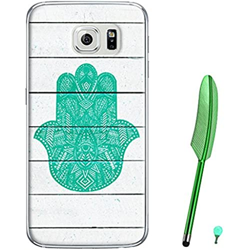 Happy Hours - Fashion Style Colorful Painted Hard PC Protective Case Cover for Samsung Galaxy S7 with Feather Stylus and Luminous Dust Plug(Green flower) Sales