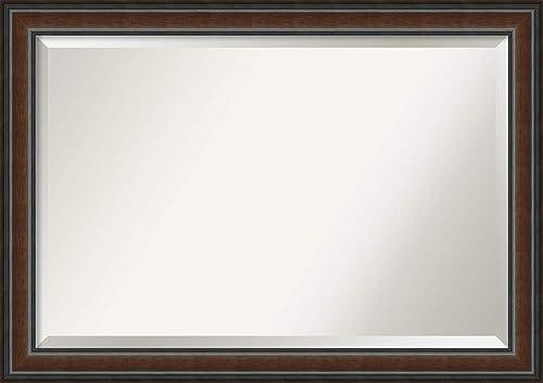 Amanti Art Cyprus Walnut Bathroom Mirror, X-Large, Brown