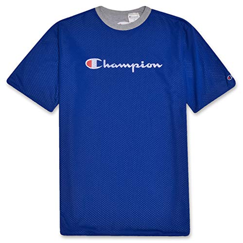 Champion Mens Big and Tall Reversible Mesh Short Sleeve T Shirt with Script Logo Royal -