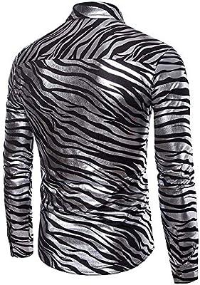 Camisa de hombre Rayas de cebra para hombres Color doble metálico brillante Discoteca Slim Fit Collar de solapa Camisa con botones de manga larga para fiesta disco Camisa de vestir ajustada Camisa