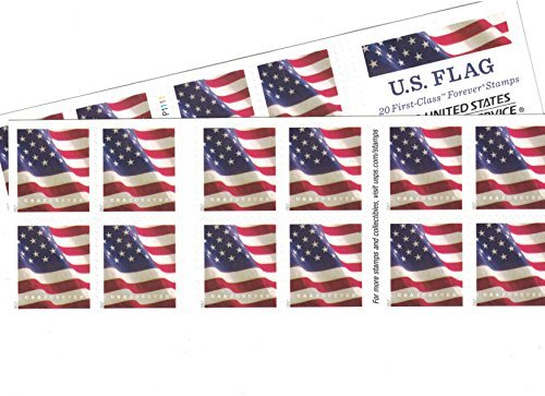 US Flag USPS Forever Stamps - 40 Stamps (two books of 20) (Us Stamp Postage)