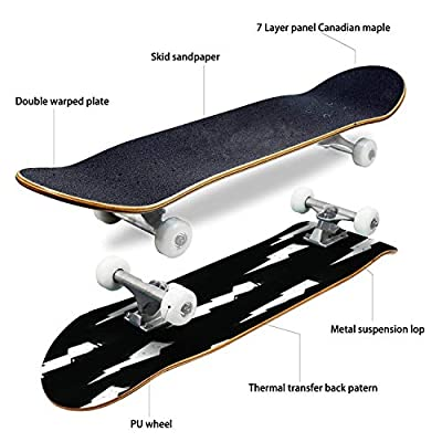 Classic Concave Skateboard Cute Lightning Bolt Modern Seamless Pattern in Doodle or Drawing Style Longboard Maple Deck Extreme Sports and Outdoors Double Kick Trick for Beginners and Professionals : Sports & Outdoors