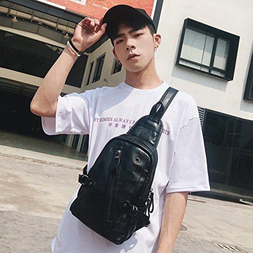 Hongrun Hommes jeunes petit sac en cuir de mode paquet paquet paquet sauvage hommes version coréenne de la poitrine Pack Hommes épaule unique petit sac