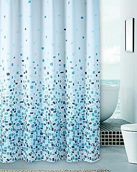Rideau De Douche Mosaique Bleu Textile 180x180 Cm Incl 12 Anneaux