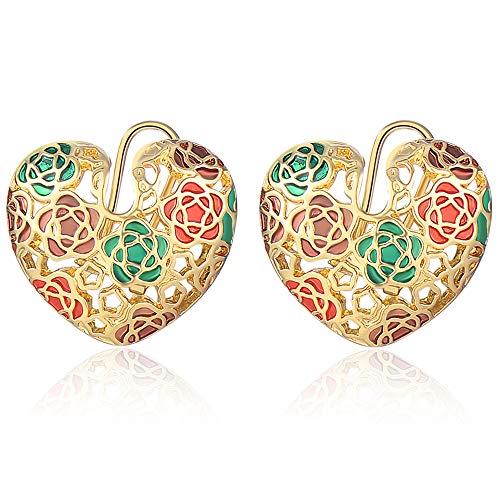 XZP Gold Plated Women's Earrings 925 Silver Pin Omega Back Heart Earring Filigree Flowers Stud Earrings Cuff ()