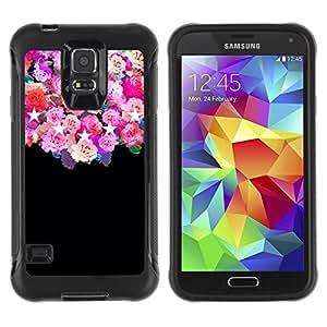 Suave TPU GEL Carcasa Funda Silicona Blando Estuche Caso de protección (para) Samsung Galaxy S5 V / CECELL Phone case / / roses black stars pink floral flowers /