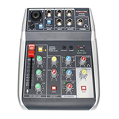 Phenyx Pro 4-Channel Audio Mixer, 4-Input, 3-Band EQ, Compact Size with Effects Section, USB Connectivity to Computer/PC, Ideal for Home Recording, Small Gigs, Live Music Settings (PTX-10) from Phenyx Technology,LLC