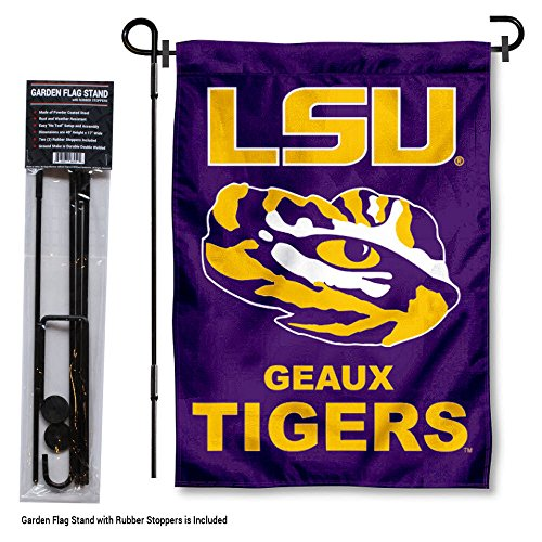 Louisiana State LSU Tigers Geaux Garden Flag with Stand (Lsu Tigers Stand)
