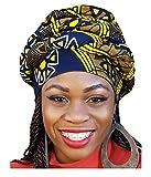 #4: Dark Blue, yellow African Print Ankara Modu Hat Pre-tied Head wrap