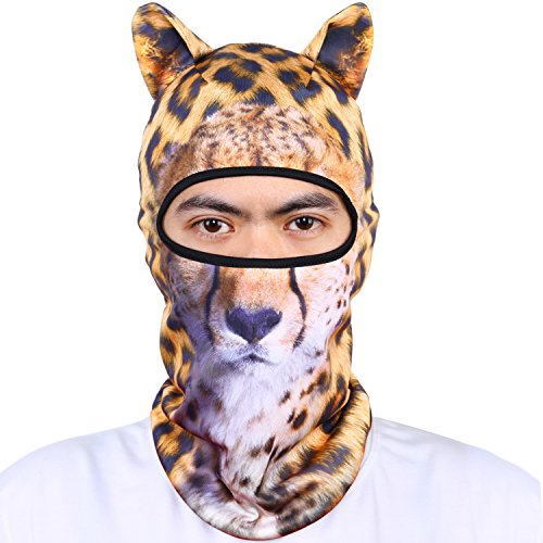 Oumers Animal Balaclava Face Mask with Ears Breathable Hood Face Shield for Outdoor Sports Cycling Motorcycle Ski Halloween Party Gift, One Size Fit Most (Women/Men)-Leopard (Leopard Faces For Halloween)