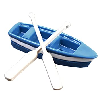 New Lovely 1Pc Boat and 2pcs Oar Doll House Miniatures Fairy Garden Gnome Decor