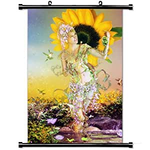 Fashion Style Posters,Summer Sunflower Crop Nature Girl High Quality Home Decor Wall Scroll Poster Fabric Painting 23.6 X 35.4 Inch (60cm X 90 cm)