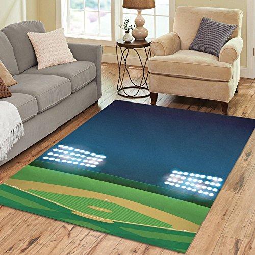 Artsadd American Baseball Field Area Rug Carpet 7'x5' Floor Rug for Living Room - Field Rug Baseball