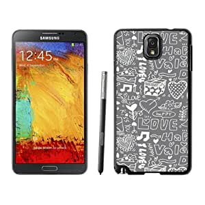 Beautiful Unique Designed Samsung Galaxy Note 3 N900A N900V N900P N900T Phone Case With Love Happiness Doodles_Black Phone Case