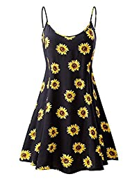 INIBUD Women Summer Dresses for Women Floral Print Sleeveless Adjustable Strappy