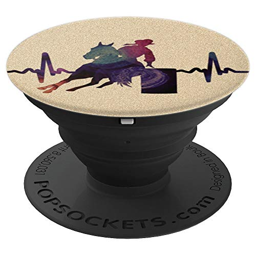Barrel Horse Heartbeat Rodeo Horseback Riding - Yellow Brown - PopSockets Grip and Stand for Phones and Tablets ()