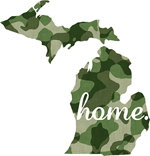 Michigan #2 Home USA military camo print 3.9x4.2 inches america united states marine us coast guard navy seals air force pow mia color sticker state decal vinyl - Made and Shipped in USA