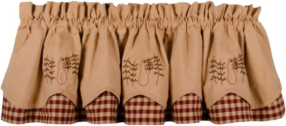 Home Collections by Raghu Nutmeg-Barn Red Christmas Tree Fairfield Valance
