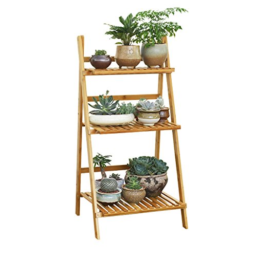 Solid Wood Primary Colors Floor Multi - Storey Living Room Flower Frame Balcony Flower Pot Rack by LITINGMEI Flower rack