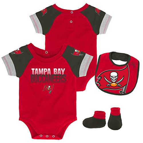 Outerstuff NFL NFL Tampa Bay Buccaneers Newborn & Infant 50 Yard Dash Bodysuit, Bib & Bootie Set Red, 12 Months