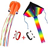 Suyisy 2 Pack Kites -- Kids Large Rainbow Delta Kite and Orange Mollusc Octopus with Long Colorful Tail Perfect for Kids Outdoor Game, Activities in Beach or Park