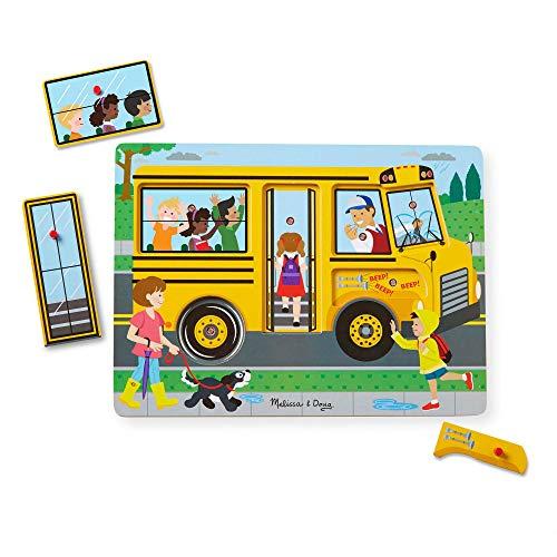 Melissa & Doug The Wheels On The Bus Sound Puzzle (Peg Puzzle, Developmental Toy, 6 Pieces) (Puzzles With Sound)