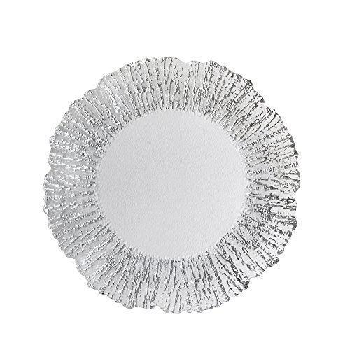 ChargeIt by Jay Deniz Flower Shape Glass Charger Plate, Silver - Round Glass Charger