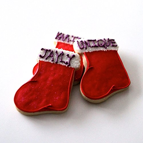 ½ Dz. Christmas Stocking Cookies! Perfect Place settings for a Holiday Dinner! Personalized Christmas themed party favors!