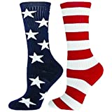 Red Lion Freedom Mismatched Crew Socks American Flag ( Navy/White/Red - Large )