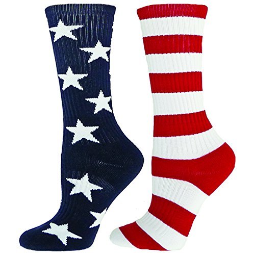 Red Lion Freedom Mismatched Crew Socks American Flag ( Navy Blue / White / Red - Large )