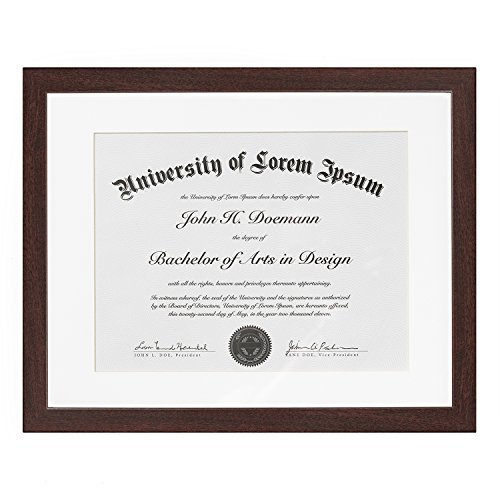Mahogany Document Frame - Made to Display Documents sized 8.5 x 11 Inch with Mat and 11 x 14 Inch without Mat - Document Frame, Certification Frame, High School Diploma (Mahogany Frame)