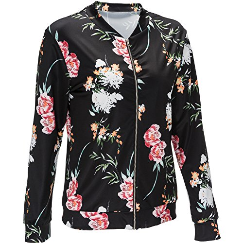 Zipper Neck Black Outerwear Printed MIRRAY Long Girls Blazer Vintage Fit Patchwork Outwear Floral Large Fashion Short Casual Coats Sleeve Autumn Womens Jacket Slim Size V TwqSwC7a