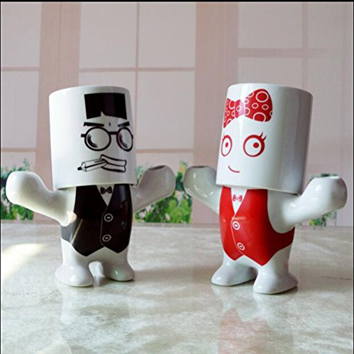 Creative Couple Wash Kit Wedding Gift Bathroom Supplies Cartoon Characters Mouthwash Cup Ceramic Bathroom 4 (Cartoon Character Couples)