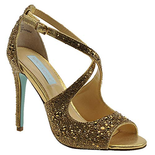 Betsey Johnson Women's SB-SAGE Heeled Sandal, Gold, 9 M US