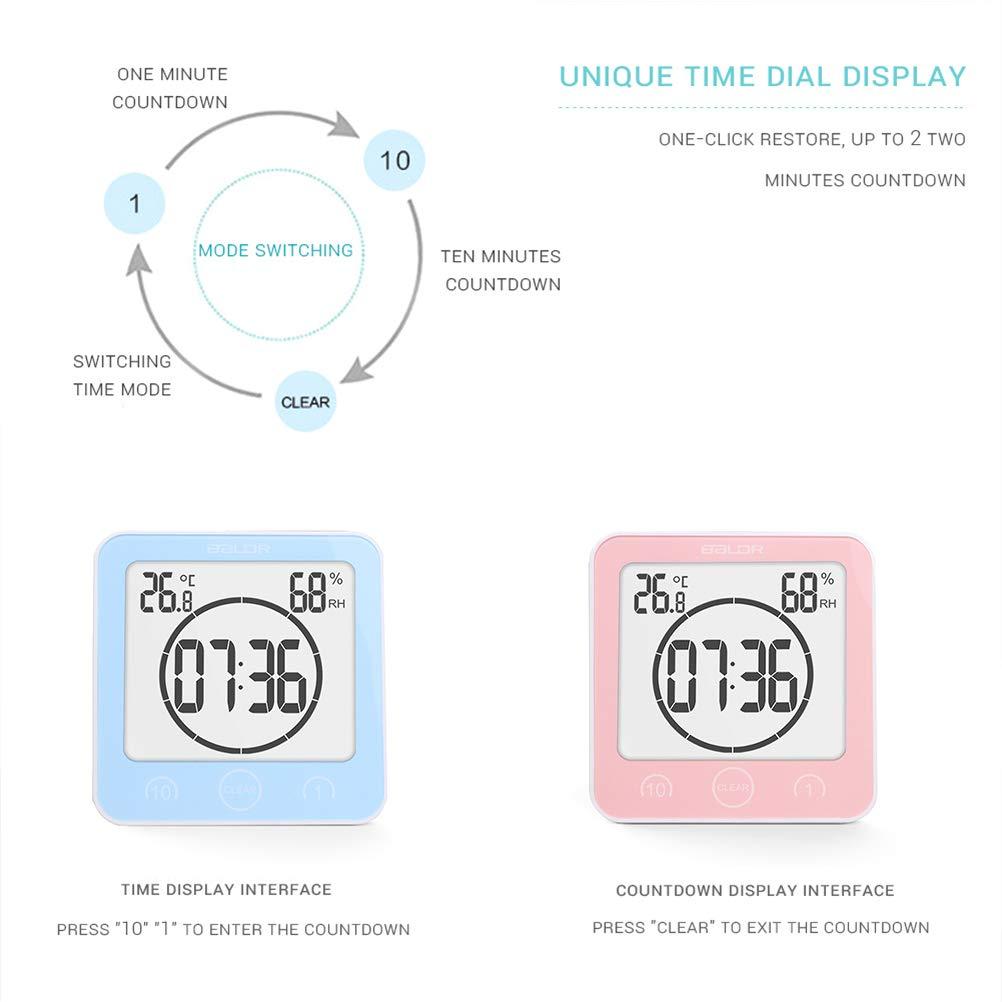 4 cm Rose 10.6 Neborn Horloge hygrom/ètre num/érique de temp/érature Montage Mural /étanche pour Salle de Bain 11