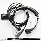 1 X Flexible Throat Mic Microphone Covert Acoustic Tube Earpiece Headset With Finger PTT for Kenwood Pro-Talk XLS TK Two Way Radio Walkie Talkie 2pin