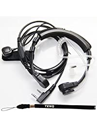 1 X Micrófono de garganta flexible Micrófono secreto Tubo acústico Auricular Auricular con dedo PTT para Kenwood Pro-Talk XLS TK Radio de dos vías Walkie Talkie 2 pines