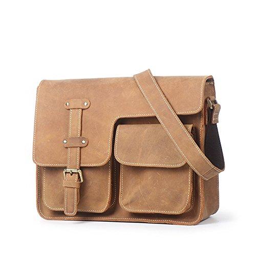 Bag Messenger Con Cerniera In Spalla colore Gialla Sacchetto Borsa Retro Giallo Di Terra Uomini Pelle Per Gli Awfqdgw
