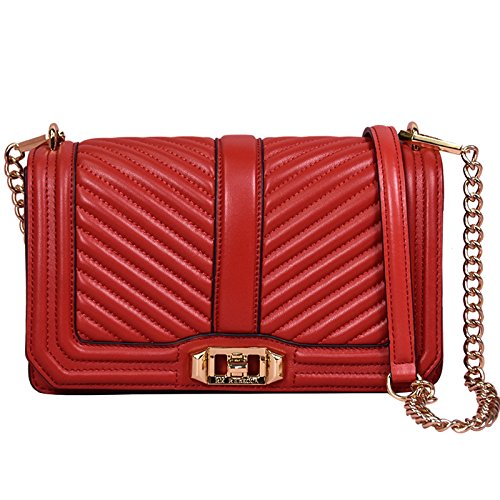 body Fashion Grid Wenl Messenger Handbags Totes Bag Chain V Shoulder Genuine Bags Leather Cross Red ww7zAq1p