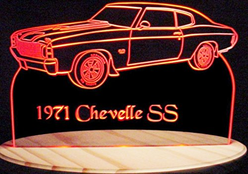 Antique Led Sign - 1971 Chevelle SS Acrylic Lighted Edge Lit 11-13