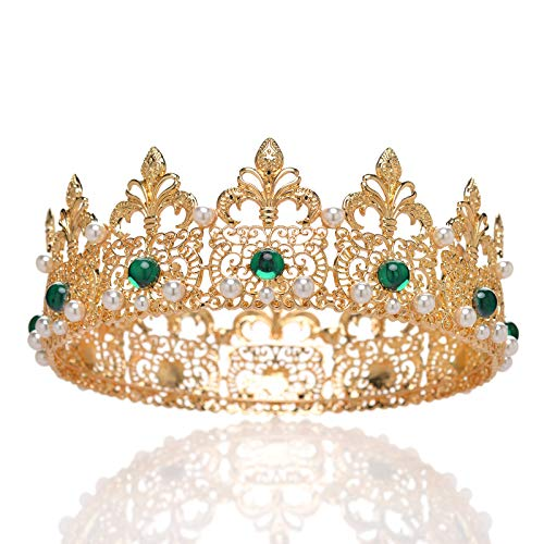 (SWEETV Gold Baroque Queen Crown for Women - Royal Women Round Crown for Wedding, Bride, Pageant, Birthday, Costume, Prom Tiara Hair Accessories with Pearl)