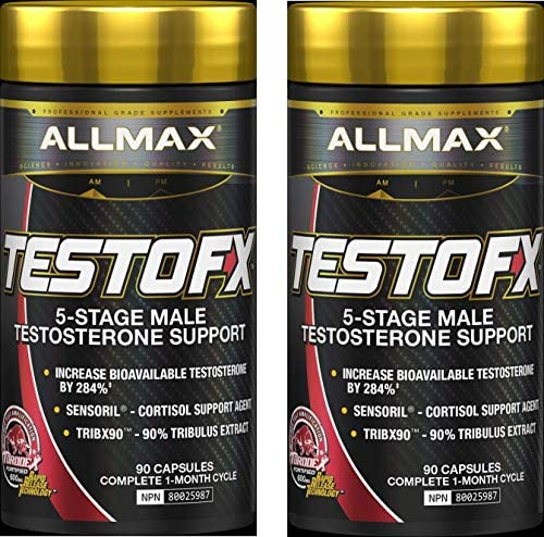 ALLMAX TESTOFX, 5-Stage Male Testosterone Amplifier, 90 Capsules 2 Bottles , 60 Day Supply