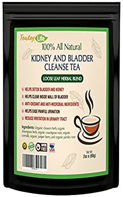 Kidney cleanse detox tea with parsley, juniper berries, cleavers herb for urinary tract health, bladder and kidneys - Organic natural herbal supplement flush formula  USDA   Made in USA