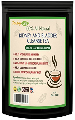 Kidney cleanse detox tea with parsley, juniper berries, cleavers herb for urinary tract health, bladder and kidneys - Organic natural herbal supplement flush formula |USDA | Made in USA ()