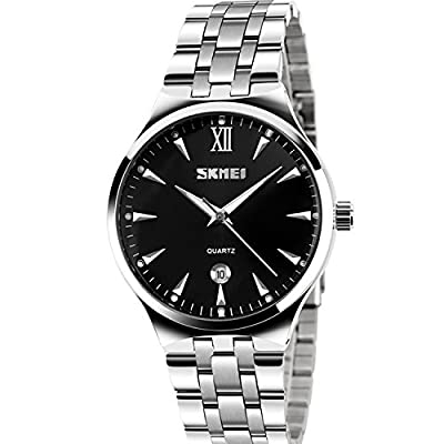 Men's Unique Analog Quartz Waterproof Business Casual Stainless Steel Band Dress Wrist Roman Numeral Watch, Classic Calendar Date Window - Black