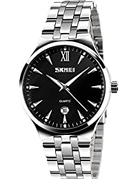 Men's Unique Analog Quartz Waterproof Business Casual Stainless Steel Band Dress Wrist Roman Numeral Watch, Classic...
