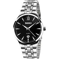 Men's Unique Analog Quartz Waterproof Business Casual Stainless Steel Band Dress Wrist Roman Numeral Watch, Classic...